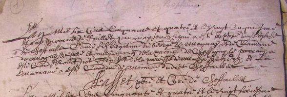 Archives communales de Chauffailles 1654-1704