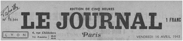 Le Journal, avril 1943