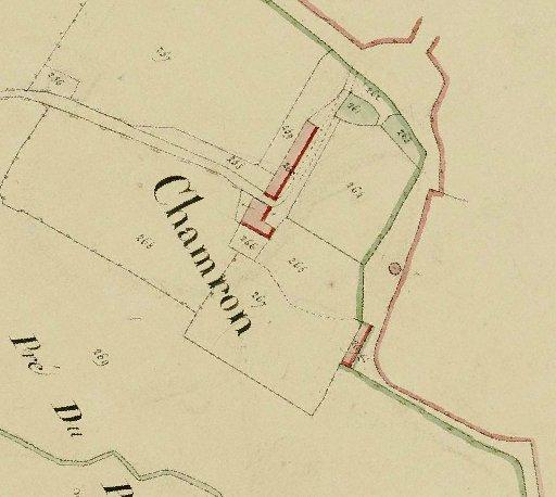 Emplacement du château de Chamron sur le cadastre de 1825 de St-Julien-de-Cray