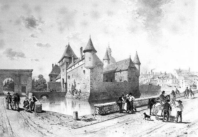 Le château de La Clayette, dessin d'Émile Sagot (XIX° siècle)