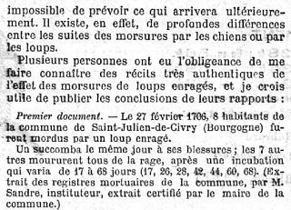 Récit de Louis Pasteur paru dans Le Temps en 1886