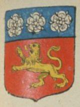 Lesdiguières, de gueules au lion d'or, au chef cousu d'azur, chargé de trois roses d'argent