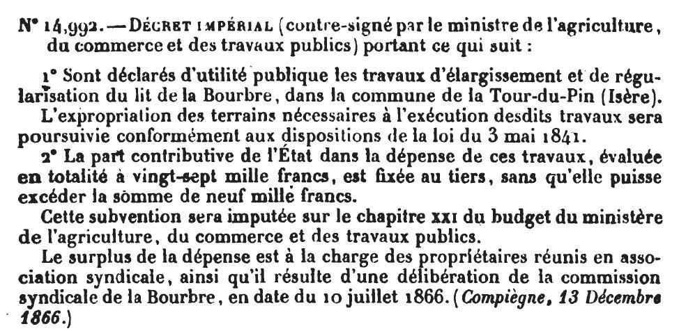 Travaux de régularisation du lit de la Bourbre en 1866