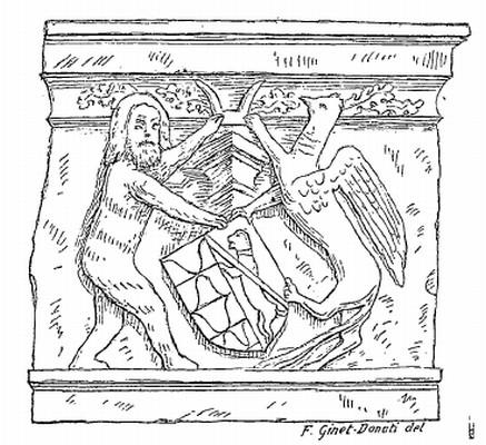 Motif du XVe siècle, château de Chamron