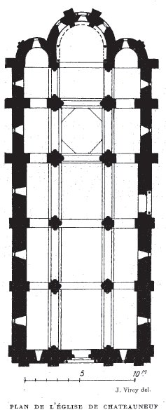 Plan de l'église de Châteauneuf en Brionnais