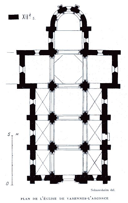 Plan de l'église de Varenne-l'Arconce