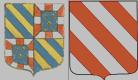 Blason du Brionnais : Blason de la province de Bourgogne (d'Hozier) accolé à celui de la maison de Semur qui est d'argent à trois bandes de gueules
